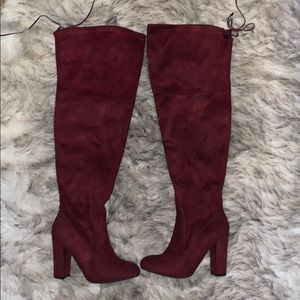Red/Maroon thigh high tie boots